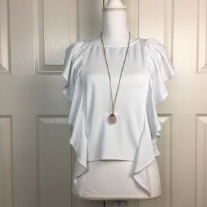Leith White Ruffle Short Sleeve Shirt Top Blouse